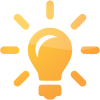 Orange Light Bulb, Idea Icon image #12411