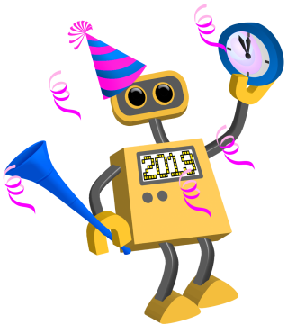 2019 Happy New Year Robots, Celebare, Greetings PNG images