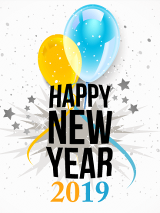 Ballons With 2019 Happy New Year Cards PNG images