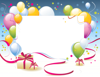 Birthday Party Frames, Balloons, Gift Box Png PNG images