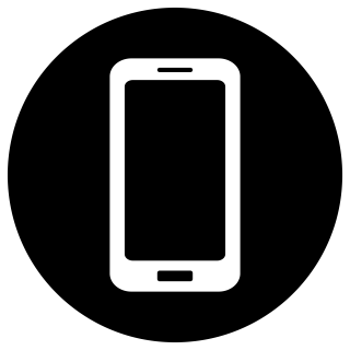Mobile White On Black Icon PNG images