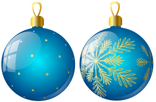Christmas Ornaments Two Blue Ball Png PNG images