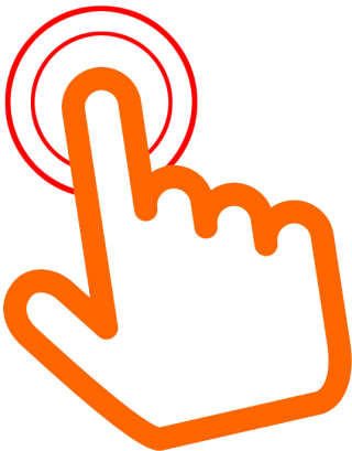 Orange Click Here Hand Png PNG images
