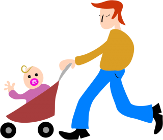 Dad, Father, Baby, Stroller Png PNG images