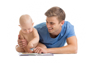 Dad With Baby Reading Png PNG images