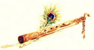 Feathers And Krishna Flute PNG images