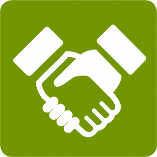 Green, White Handshake Icon PNG images