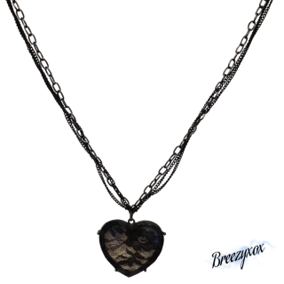 Lace Heart Necklace Stock Png PNG images