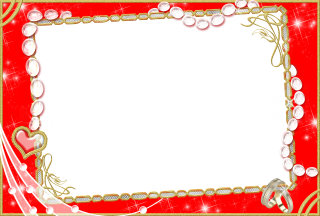 Red Wedding Photo Frame Png PNG images