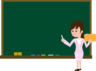 Download Female Teacher On Blackboard In Classroom PNG images