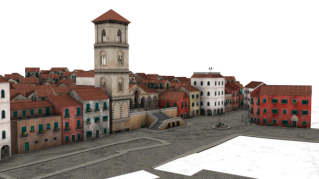 Small Town Buildings 3d Png PNG images