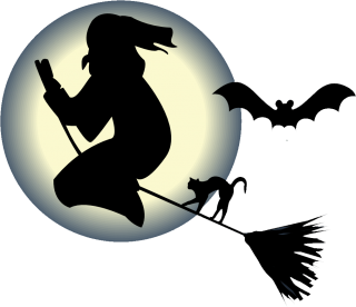 Witch Flying On Broom With A Cat And Bat In Front Png PNG images