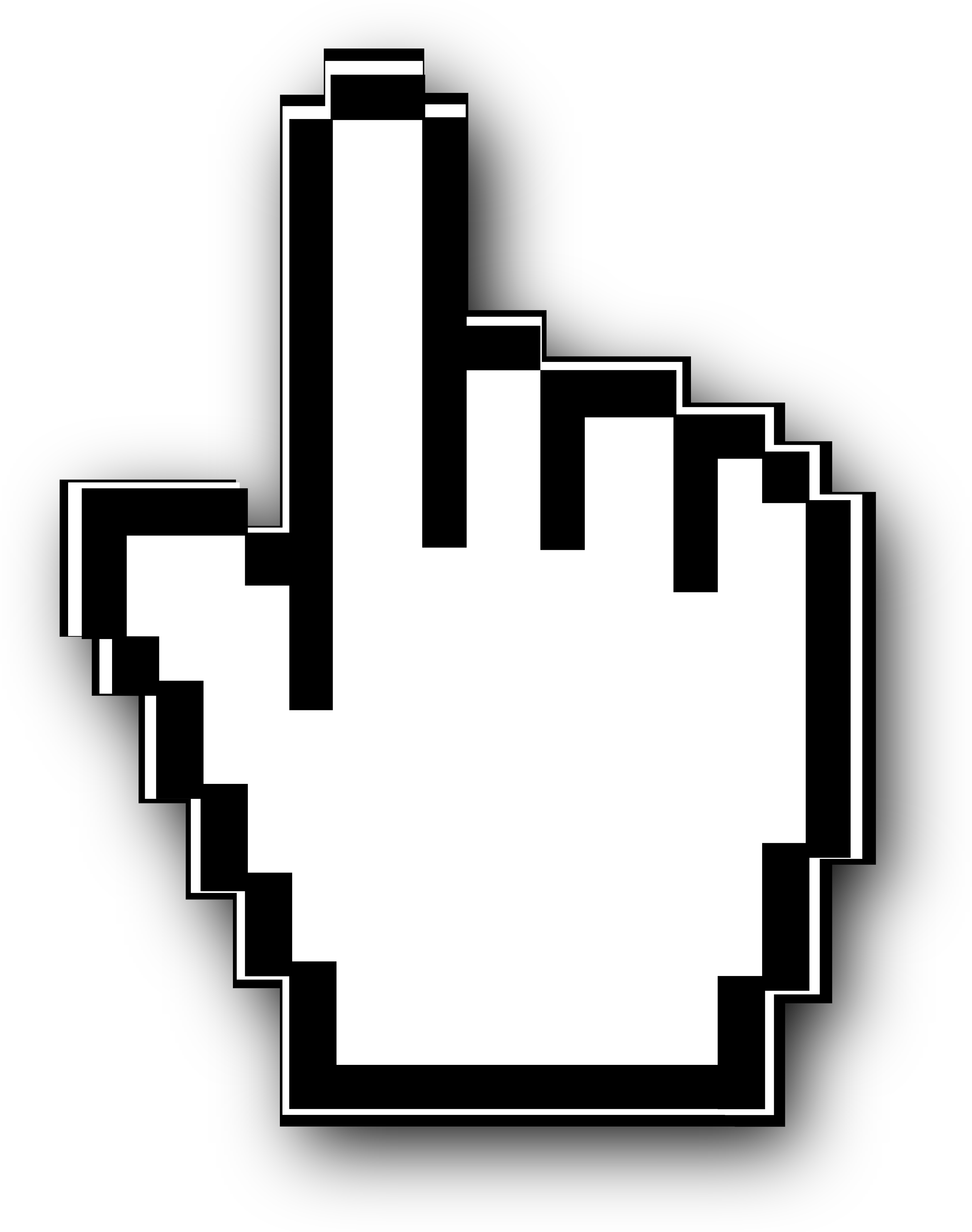 Clipart Image Of A Black And White Cursor Hand With Pointer Finger 2525x3200, Cursor HD PNG Download
