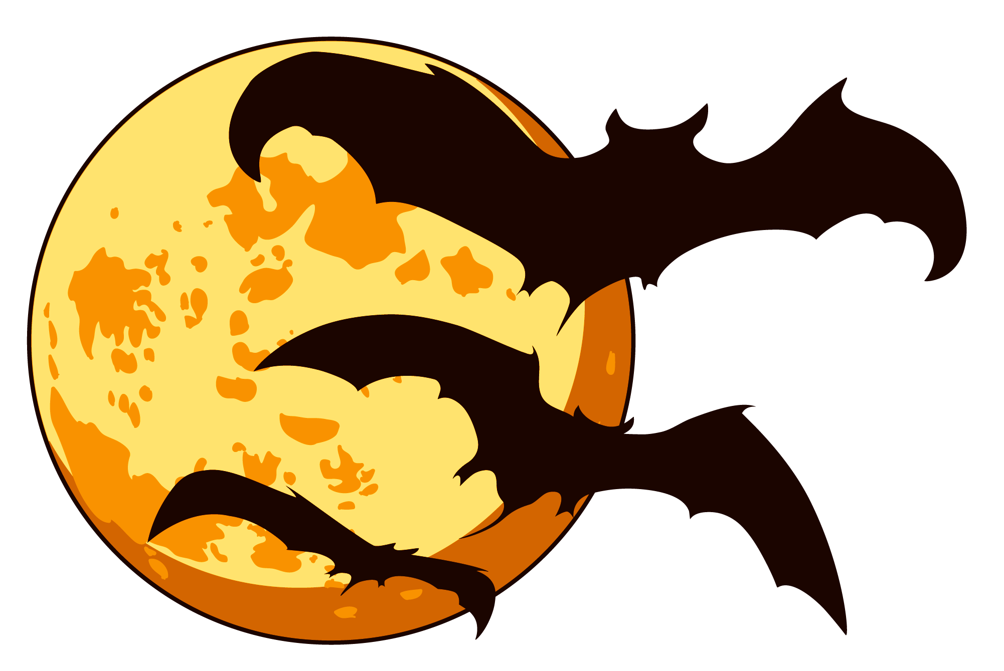 Moon With Bats PNG image #26453
