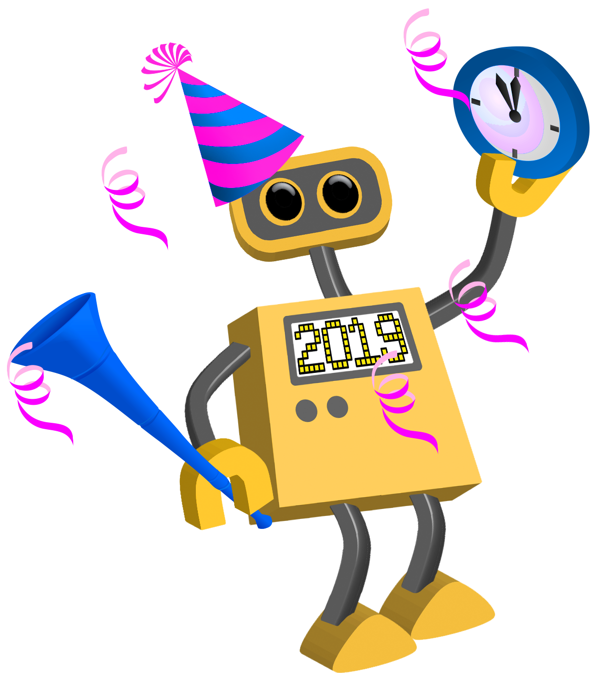 2019 Happy New Year Robots, Celebare, Greetings