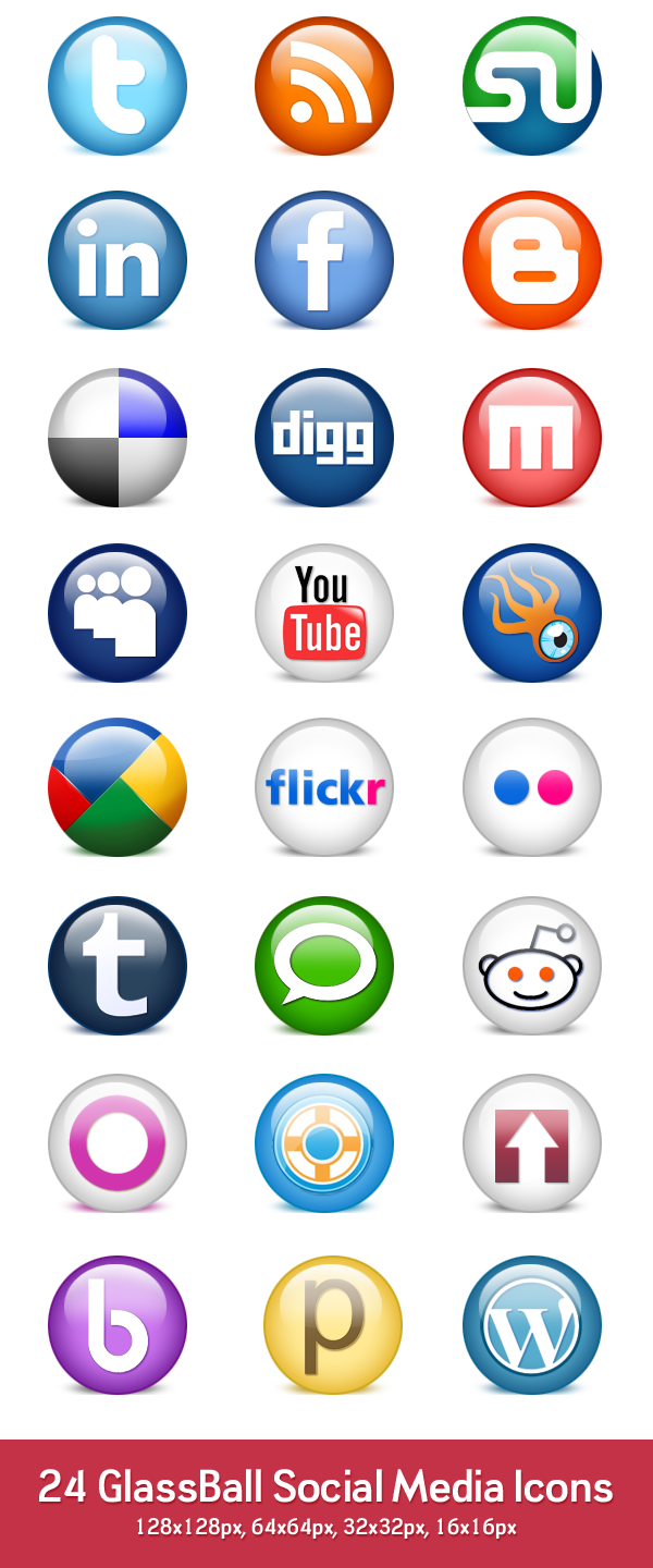 24 glossy social media icons (PSD & PNG)  GraphicsFuel