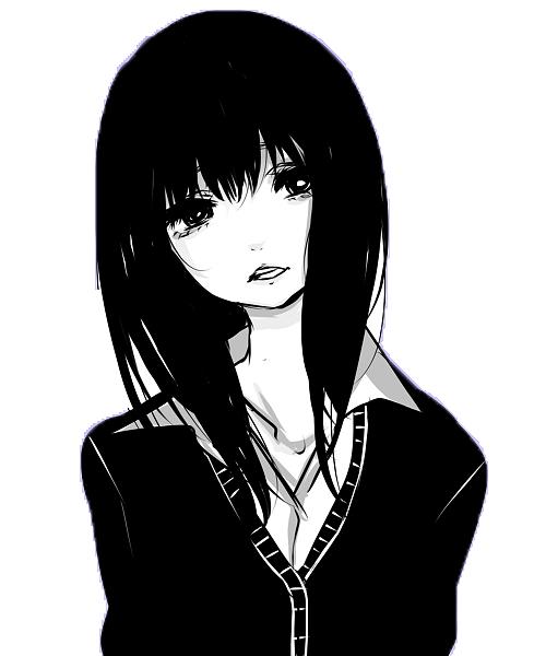 black anime girl png