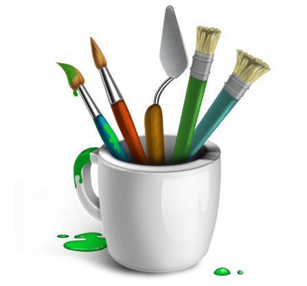 artistic paint brushes and cup icon download the paint brushes icon