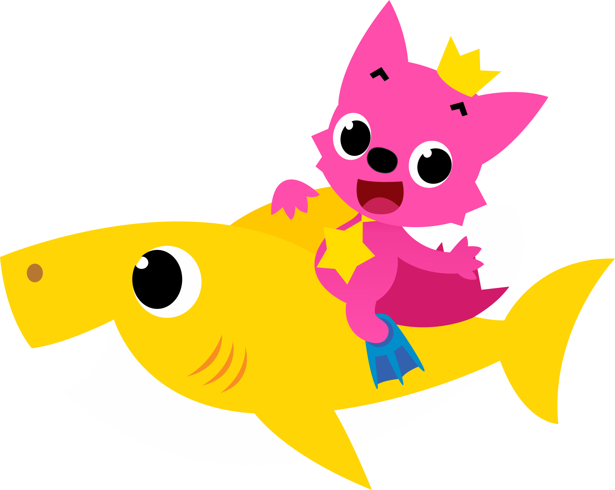 Pinkfong on Shark Baby PNG HD
