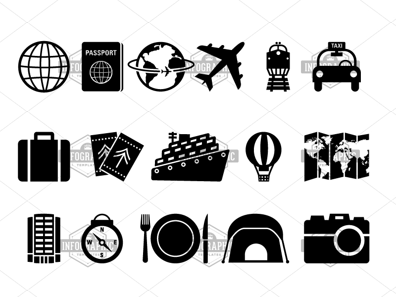 Basic Travel Icon Pack | infographictemplatesminfographictemplates