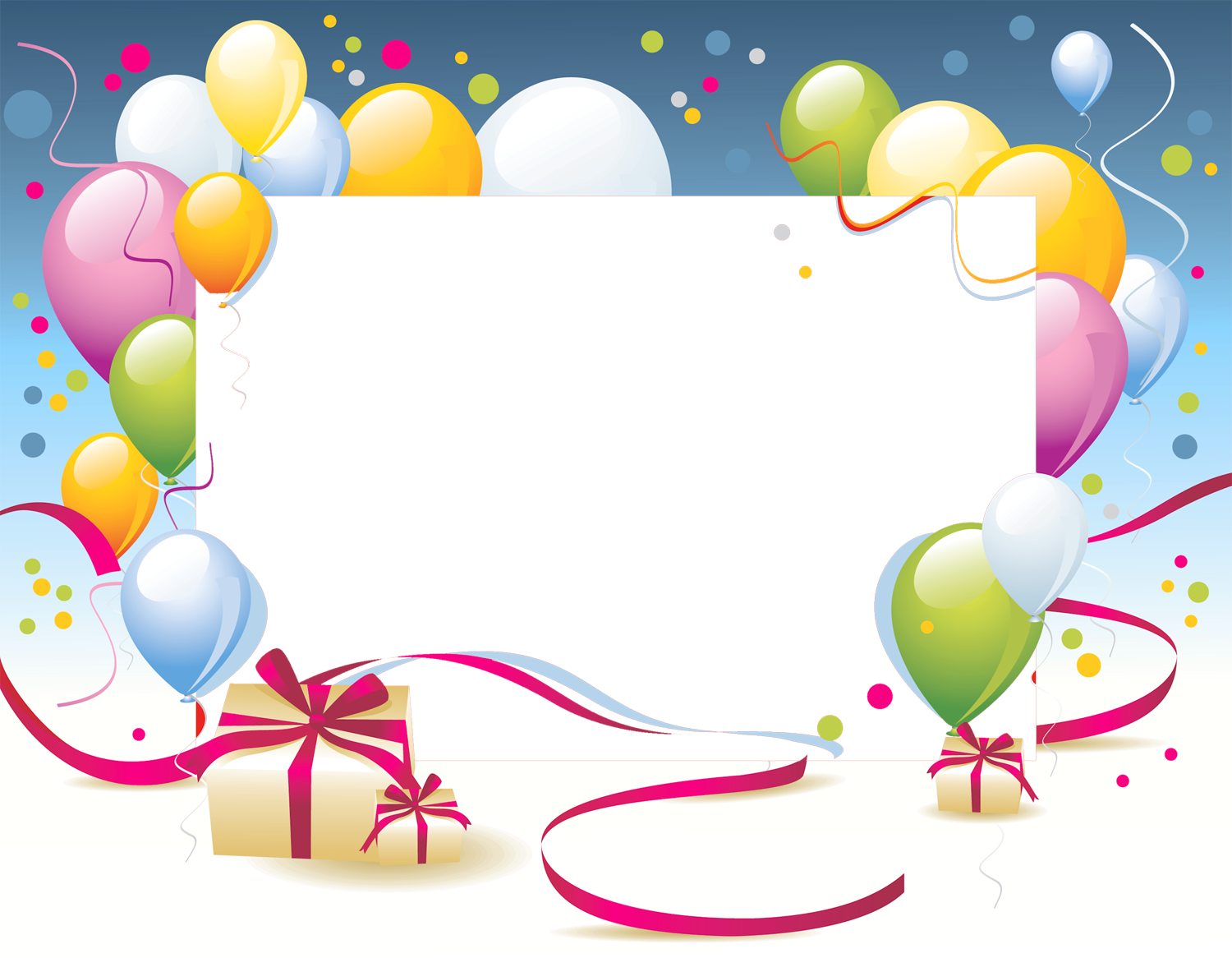 Birthday Party Frames Balloons Gift Box Png 45910