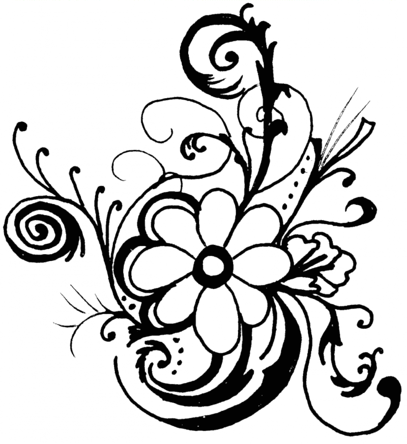 Black and white clip art flowers pictures image 41822
