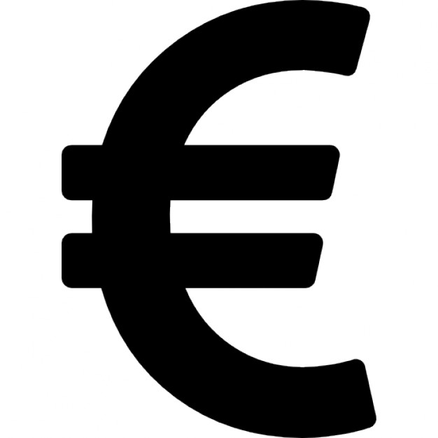 Black Euro Currency Sign Icon
