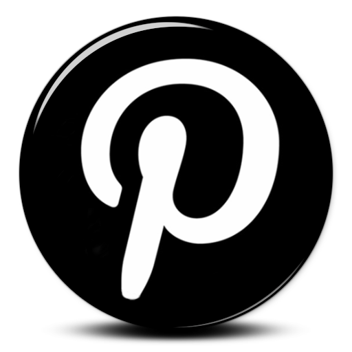 Black Pinterest icon logo png
