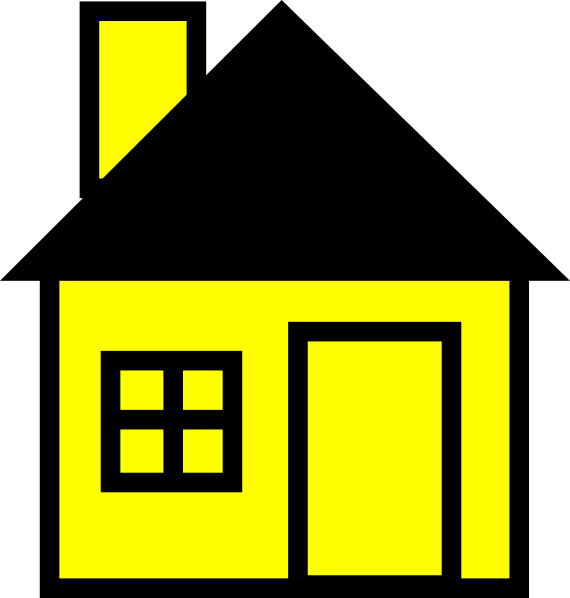 Black Yellow House Clip Art Picture