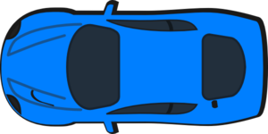 Blue car top view icon