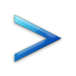blue greater than sign icon