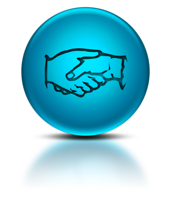 blue handshake icon