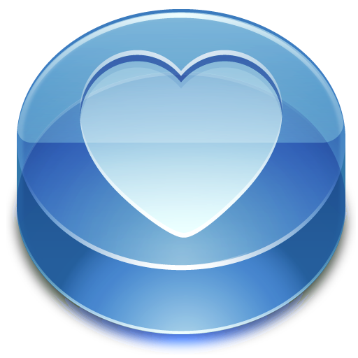 blue, heart, glass, favorite icon