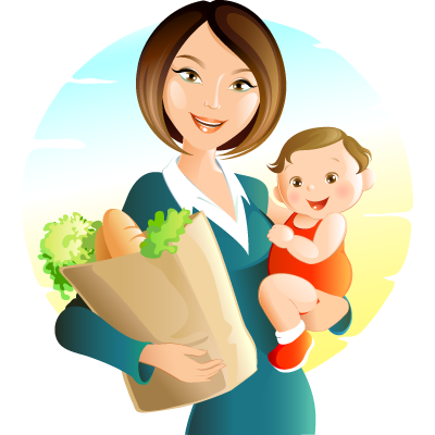 Cartoon Mother And Baby Png image #41491