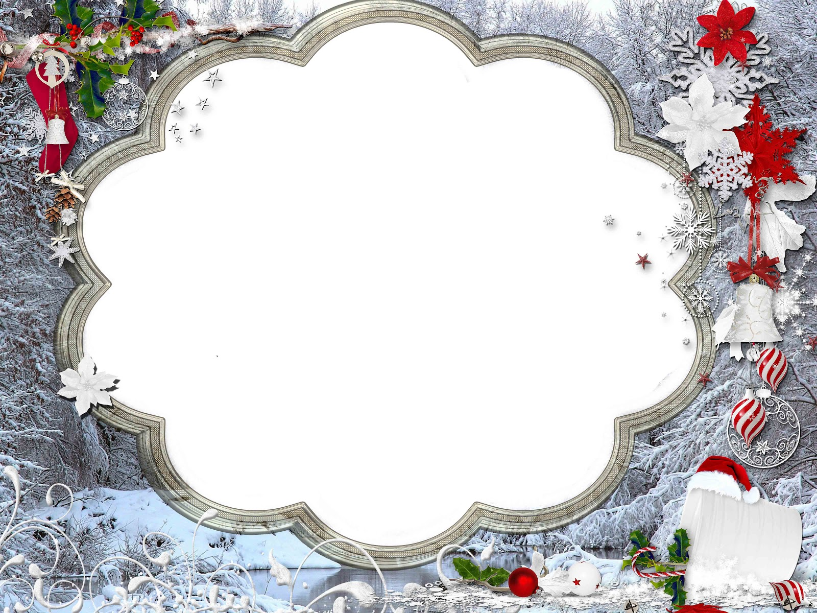 Christmas Frame With Flower Border Png image #47104