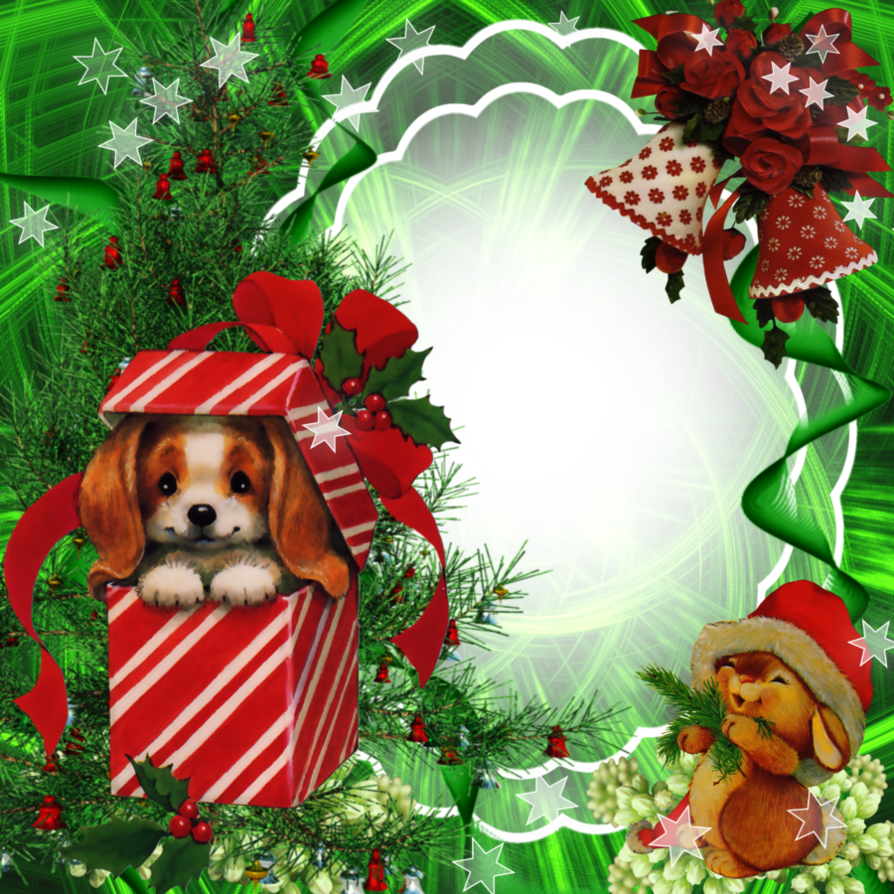 Christmas Frame With Gifts And Dog Clipart image #47109