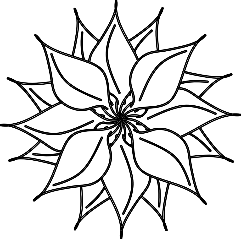 Clip Art Black And White Many Flowers Image 41802