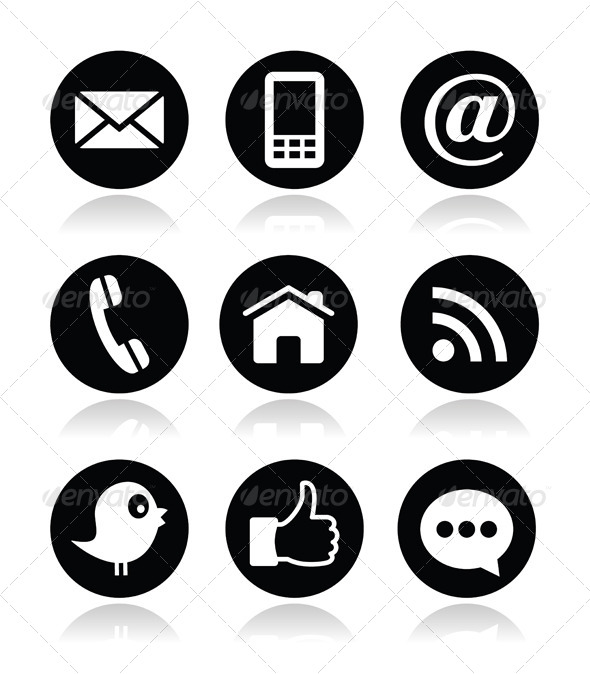 Contact, Web, Blog And Social Media Round Icons     Web Technology image #1761