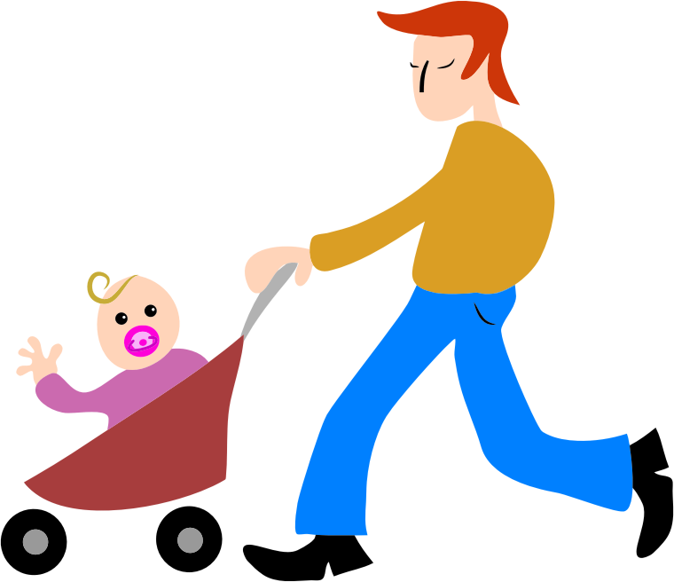 Dad, Father, Baby, Stroller Png image #42618