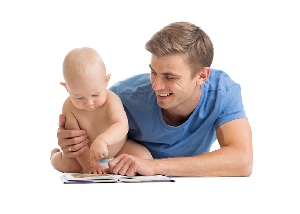 dad with baby reading png