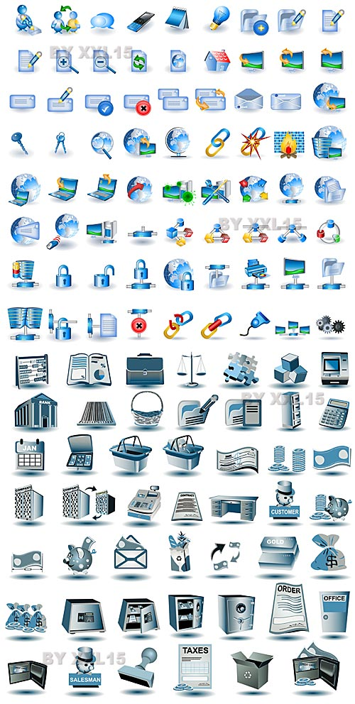 design1s blue network icons Blue network icons vector