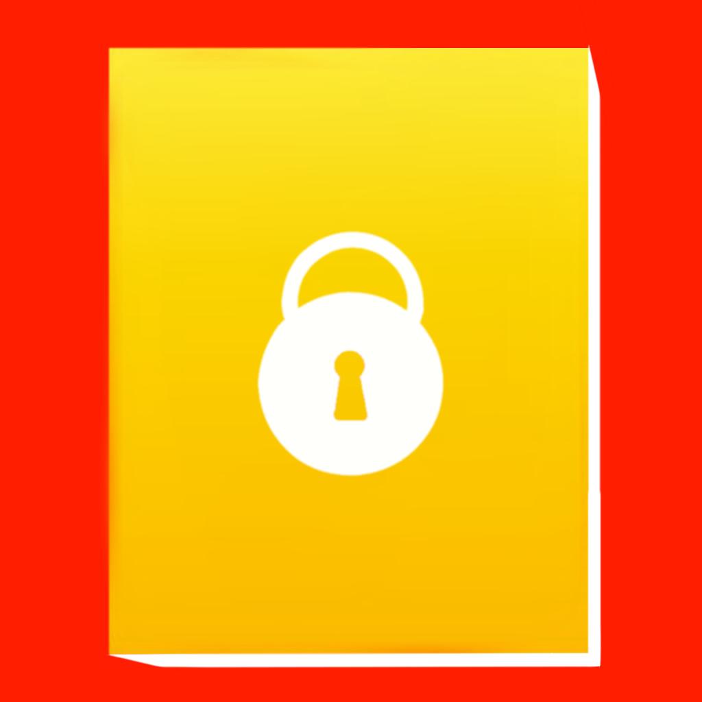 Diary, lock, key icon