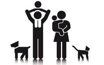 dog, cat, father, mother, baby, son, family icon
