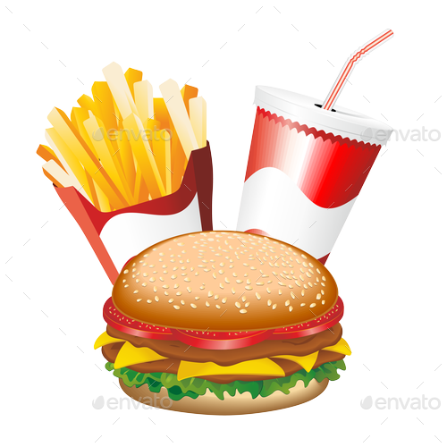Fast Food Hamburger Fries and Drink Menu PREVIEW png Fries PREVIEW png