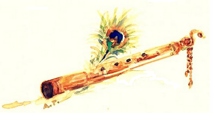 feathers and krishna flute