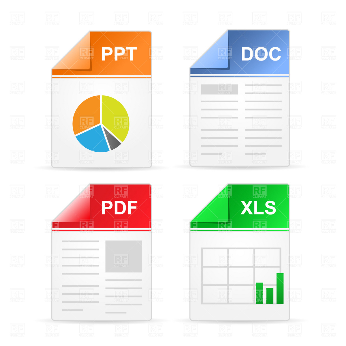 Filetype Icons  ppt, doc, pdf, xls, 1657, Icons and Emblems, download
