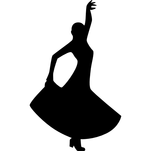 Flamenco dancing silhouette of a woman icon
