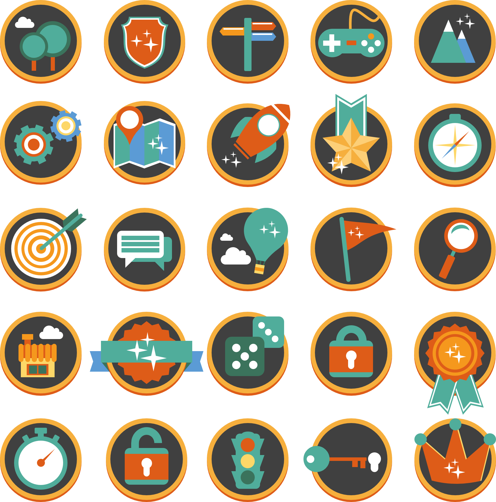Flat Gamification Icons  The icon set created 100% in PowerPower by