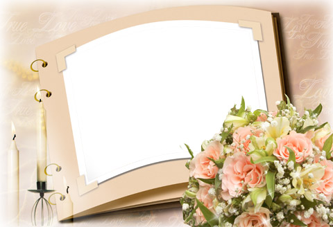 floral romantic photo frame png