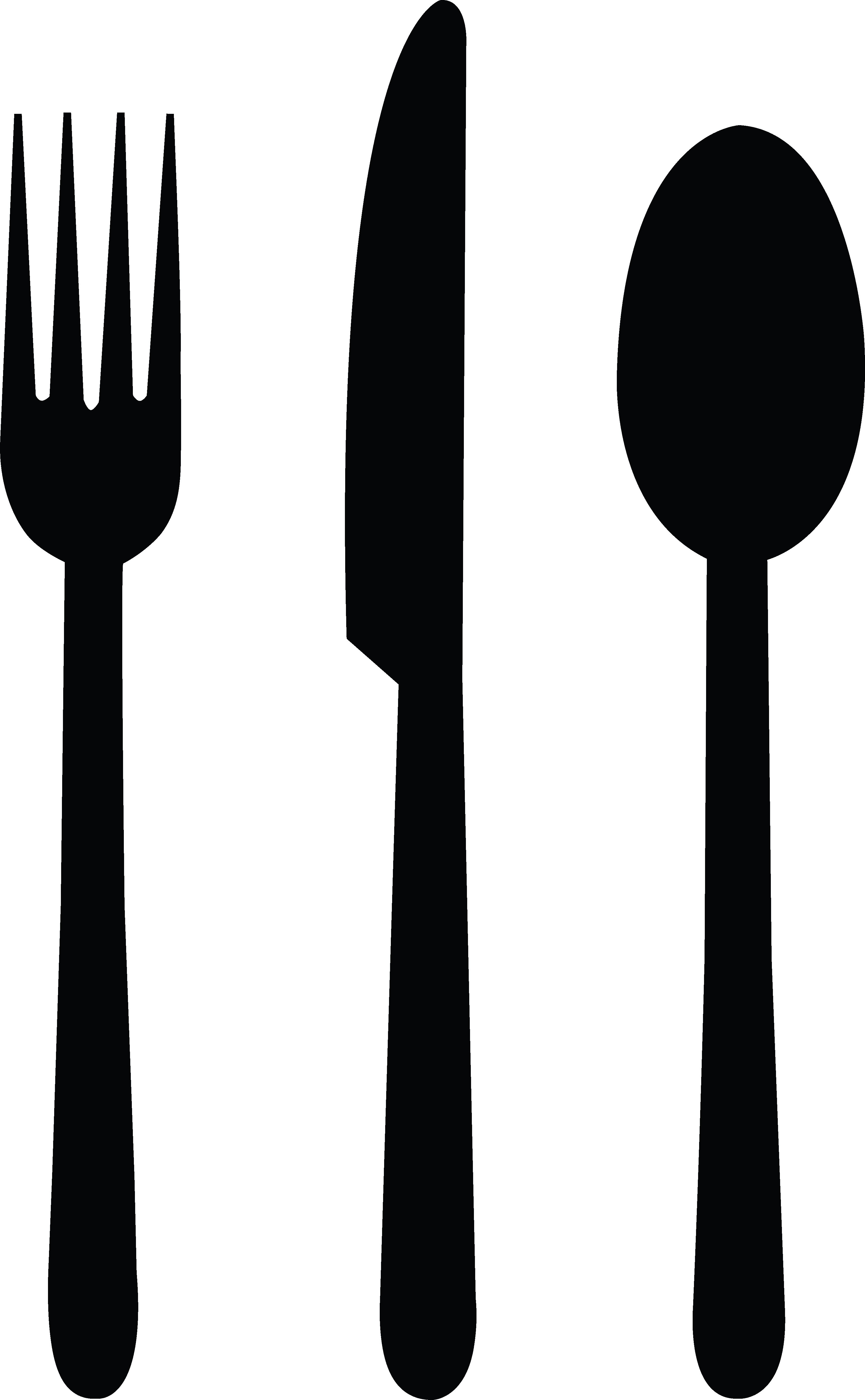 Fork Knife Spoon Black Png image #3660